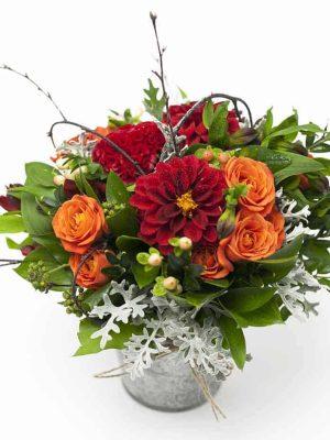 Assorted Flowers in Garden Zinc Tin Pail