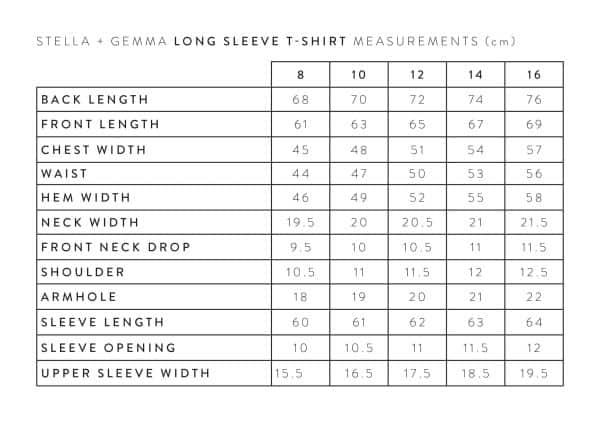 stella-gemma-LONG-SLEEVE-T-SHIRT-MEASUREMENTS-expressions
