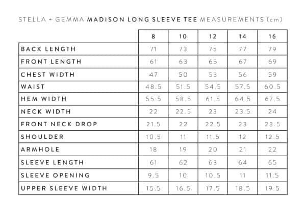 stella-gemma-MADISON-LONG-SLEEVE-TEE-MEASUREMENTS-expressions