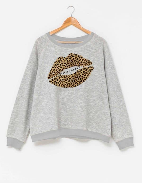 stella-gemma-sweater-SGTS3124-grey-marle-leopard-lips-sweatshirt-expressions
