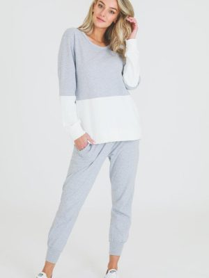3rd-story-clothing-hailey-sweater-grey-marle-white-1424GMW-expressions-nz