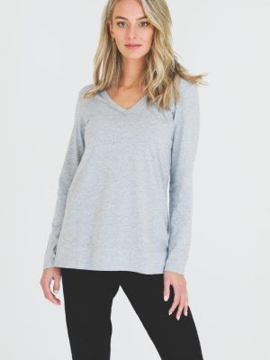 3rd-story-leah-long-sleeve-tee-1466GM-t-shirt-grey-marle-expressions-nz